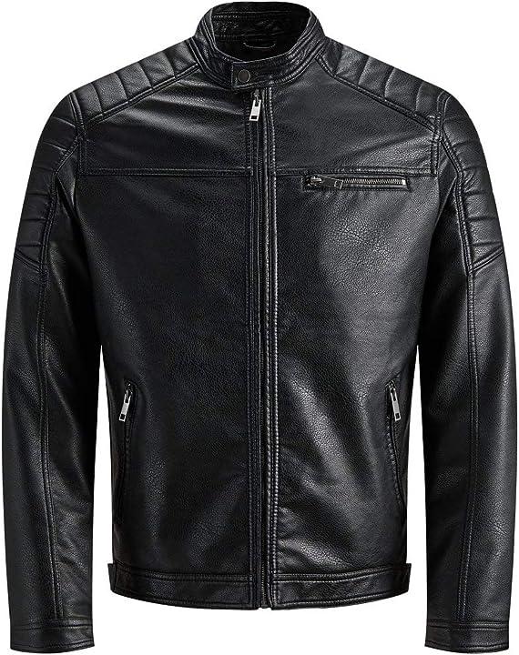 Giacca nera pelle rocky - jack & jones jcorocky jacket noos giacca uomo 12147218