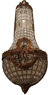 French Empire Crystal Long Beads Basket Wall Sconce Applique Vintage Art