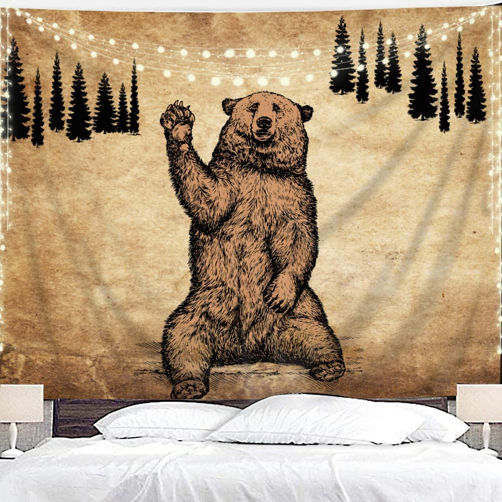 Amazon Com Homewelle Rustic Bear Tapestry 40wx60l Inch Cool Animal Cute Fun Brown Vintage Wildlife Cabin Nature Country Lodge Forest Pine Trees Landscape Aesthetic Hanging Bedroom Living Room Dorm Decor Fabric Everything Else