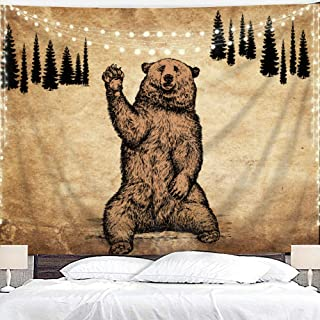 Homewelle Brown Bear Tapestry 59Wx51L Inch Rustic Cabin Wildlife Design Nature Animal Country Lodge Forest Pine Trees Hanging Bedroom Living Room Dorm Decor Fabric