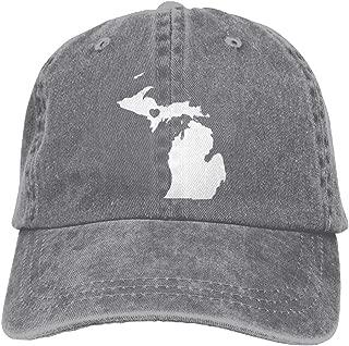 MOCSTONE Love Michigan State Map Adult Adjustable Denim Cotton Dad Hat Baseball Caps
