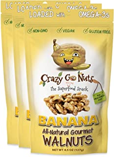 Crazy Go Nuts Walnuts - Banana, 4.5 oz (3-Pack) - Healthy Snacks, Vegan, Gluten Free, Superfood - Natural, Non-GMO, ALA, Omega 3 Fatty Acids, Good Fats, and Antioxidants