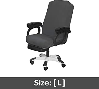 SARAFLORA Grey Office Chair Covers Stretch Washable Computer Chair Slipcovers for Universal Rotating Boss Chair Large Size