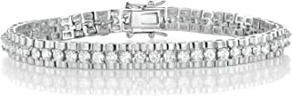 OPALBEST 18K White Gold/Gold Plated Cubic Zirconia Classic Tennis Bracelet for Women 7.5 Inch