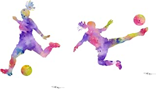 Set of 2 Girls Soccer Abstract Watercolor Art Prints by Artist DJ Rogers
