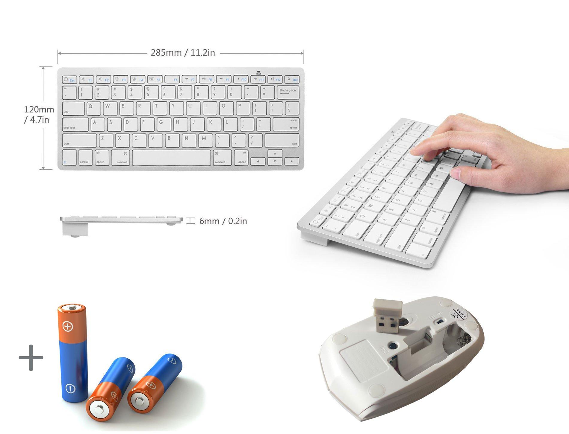 Blanco Mini teclado inalámbrico y ratón para LG 65uj701 V de control fácil 65