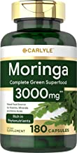 Moringa Oleifera 3000 mg 180 Capsules – Complete Green Superfood | Non-GMO,Gluten Free | from Moringa Leaf Powder | by Carlyle
