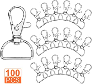Acrux7 Swivel Clasps D Ring Metal Lobster Claw Clasps Lanyard Snap Hook for Crafting & DIY Lanyard Making, 100 Pack
