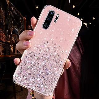 JAWSEU Fodral transparent kompatibelt med Huawei P30 Pro, lyxig bling glitter kristallklar glittrande fodral ultratunt sma...