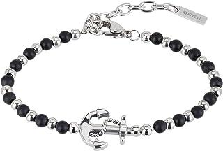 BREIL - Gioiello Collezione Black Onyx, Gioielli Uomo, Bracciale e Collana da Uomo in Acciaio e Pietre Naturali, Nero