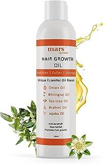 Mars by GHC Bhringraj Oil With Onion, Jojoba, Fenugreek & 17 other Essential Oils - Healthy Hair Growth & Anti Hair Fall (...