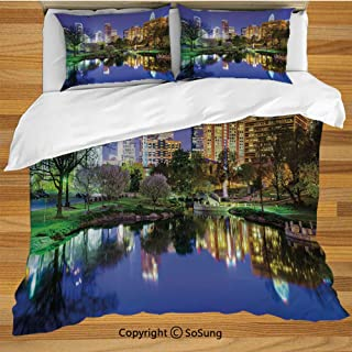 City King Size Bedding Duvet Cover Set,North Carolina Marshall Park United States American Night Reflections on Lake Photo Decorative 3 Piece Bedding Set with 2 Pillow Shams,Multicolor