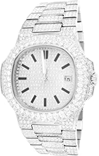 Mens Stainless Steel Bling ICY Automatic Movement Date Luxury Square Face White Watch