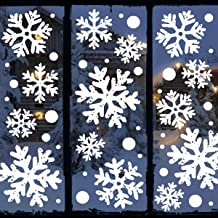 Ivenf Christmas Decorations, 8 Sheets Extra Large White Snowflakes Window Clings, Hanging Ornaments Decal Winter Wonderland Xmas Holiday Party Supplies