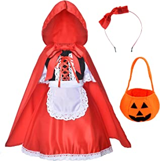 Little Red Riding Hood Dress Christmas Cosplay Costumes for Girls with Cloak,Headband,Bag(2-12Years)