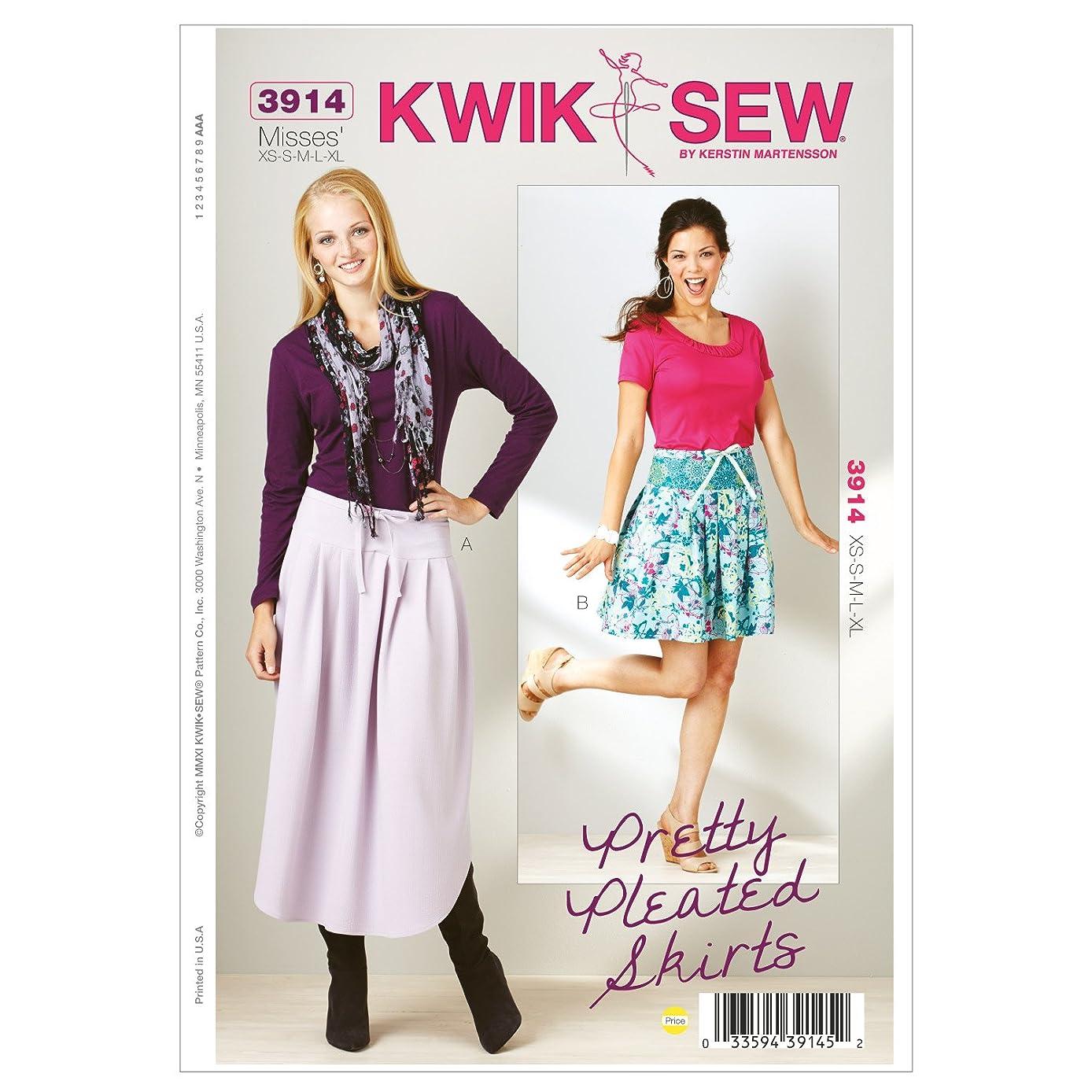 Kwik Sew K3914 Pretty Pleated Skirt Sewing Pattern, Size XS-S-M-L-XL