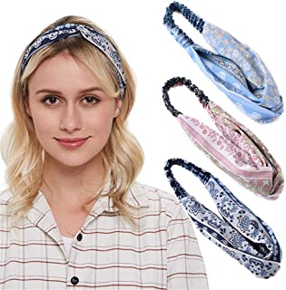 3 Pack Boho Vintage Headband Wide Twist Knotted Stretchy Yoga Workout Headbands for Women and Girls (F)
