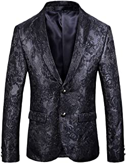 YOUTHUP Mens Blazers Slim Fit 2 Button Jacquard Blazer Floral Party Jackets
