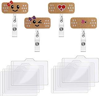 AODOOR Paquet de 4 Porte-badge Rétractable à Bobine avec 8 Porte-badge Horizontaux, Porte-badge d'infirmière pour Bénévole...