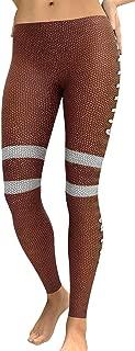 Women Slim High Waist Football 3D Digital Print Splice Sports Tight Pants Yoga Leggings
