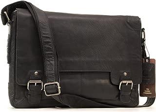 Ashwood Messenger Shoulder Bag - Laptop Bag with Padded Compartment - Business Office Work Bag - Genuine Leather - 8343 - Black