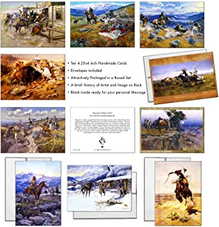 Twelve Charles Marion Russell Assorted Vintage Western Cowboy Art Thank You Notecards in a Boxed Set