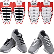 TabEnter Lazy Replacement Shoeslace Elastic No Tie Quick Shoestring for Kids & Adults, Casual Silicone Running Shoe Laces for Sneaker Boots Board Shoes (2 Pairs)