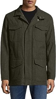 Brooks Brothers Men's 100% Wool Zip Up Notch Field Coat Jacket Dark Green