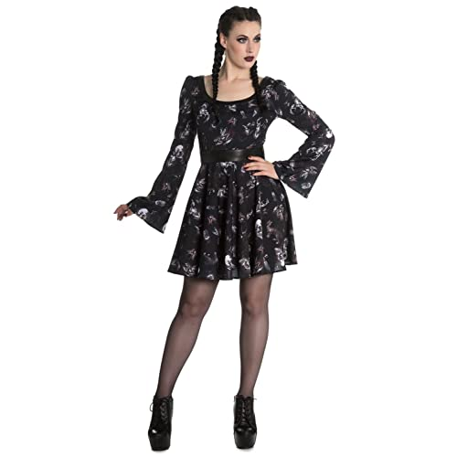 081c03829ea7a Hell Bunny Spin Doctor Goth Witch Mini Dress Taxidermy Skulls Black