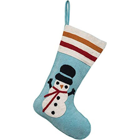 Creative Co Op Blue Wool Felt Stocking Multicolor Home Kitchen