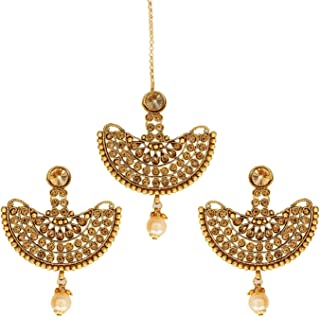 Crunchy Fashion Royal Bling Bollywood Jewelry Traditional Indian Earring & Tike Set for Women