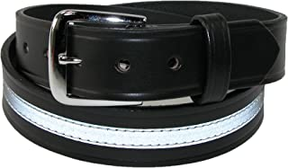 Boston Leather Men's Leather Work Belt with Reflective Safety Stripe