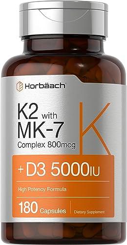 Vitamin K2 Complex with D3   180 Capsules   800 mcg of MK7 Plus MK4   5000 IU of D3   Non-GMO, Gluten Free   Vitamin ...