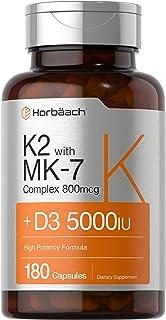 Vitamin K2 Complex with D3   180 Capsules   800 mcg of MK7 Plus MK4   5000 IU of D3   Non-GMO, Gluten Free   Vitamin Suppl...