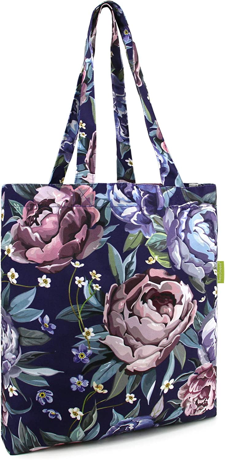 Cotton Groceries Bag Large Tote Bag Canvas 1 Pack Foldable Cute Grocery Bag Folding with Attached Pouch Heavy Duty Reusable Bag for Women Girls Shopping Beach Travel Black with Flower