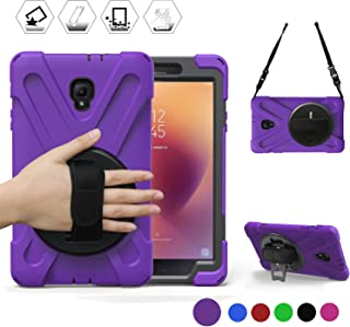 Galaxy Tab A 8.0 2017 Case, [Rugged: Shock Proof] Heavy Duty Dual Protective Case with Kickstand and Adjustable Hand Strap for Samsung Galaxy Tab 8.0