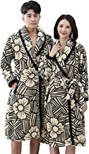 Men and Women Robe Autumn Winter Thicken Warm Flannel Nightgown Home Plus Size Fashion Printed Sleepwear(Size:Women-3XL + ...