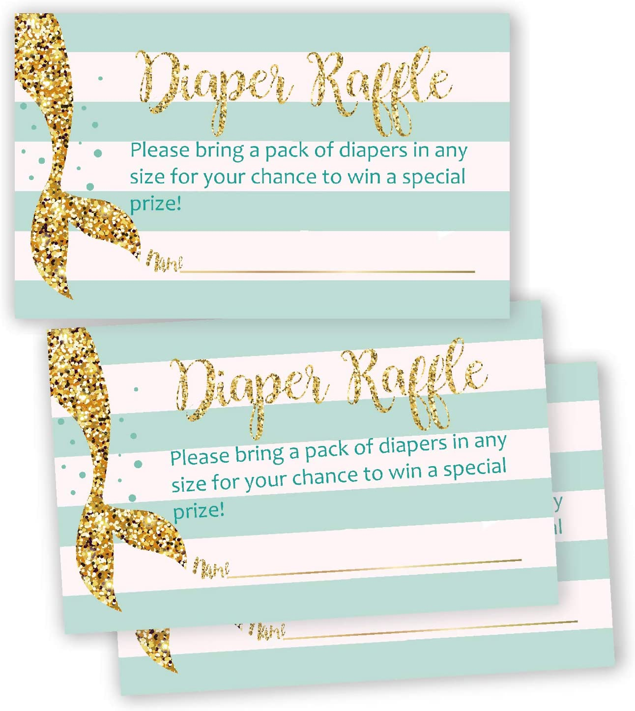 50 Mermaid Baby Shower Diaper Raffle Tickets, Lottery Insert Cards for Neutral Gender Reveal Party, Bring a Pack of Diapers to Win Favors.