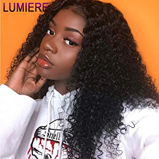 LUMIERE Hair 10inch Short Human Hair 360 Lace Frontal Wigs with Baby Hair Pre Plucked Glueless Brazilian Kinky Curly 360 Lace Front Wigs for Black Women Free Part Natural Black 150% Density