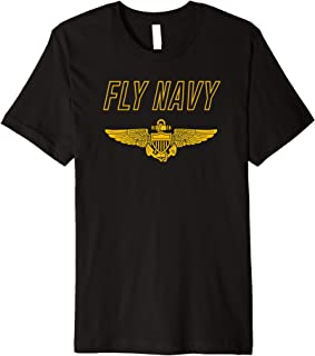 Fly Navy Shirt Classic Naval Officer Pilot Wings Tee