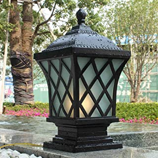 Moddeny IP54 Square Waterproof Outdoor Pillar Light Column Lamp Exterior Rainproof Aluminum Glass Post Lanterns Traditional E27 Black Patio Villa Garden Park Balcony Gate Street Lighting