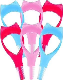 TecUnite 6 Pieces 3 in 1 Eyelashes Tools Mascara Shield Applicator Guard Eyelash Guide for Makeup, 3 Colors