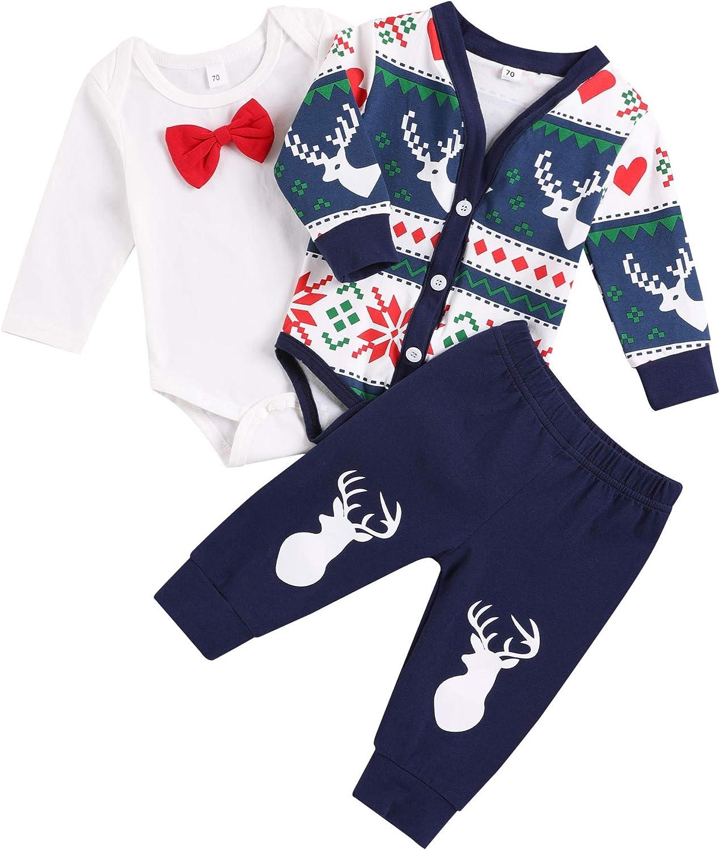 Newborn Baby Boy Christmas Outfits Gentleman Cardigan Suit+Bow Tie Bodysuit Inside+Pants 3Pcs Clothing Set