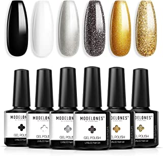 Gel Nail Polish Black White Gold Glitter Gel Nail Polish Set 10ML 6PCS 2021 Spring Holiday Soak off Nail Gel Polish Starte...