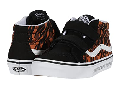 Vans Kids SK8-Mid Reissue V (Little Kid) ((Animal Checkerboard) Tiger/Black) Girls Shoes