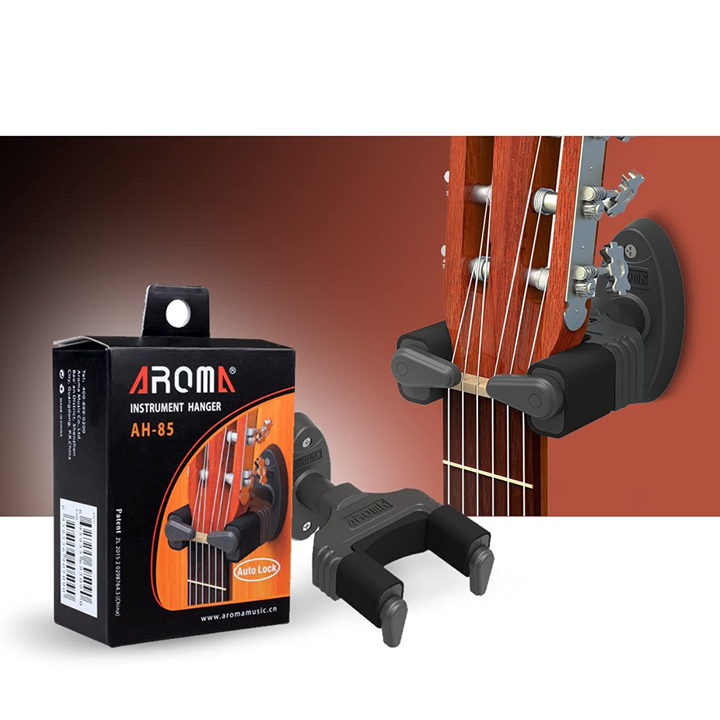 AROMA AH-85 Gravity Auto Lock Guitar Wall Hanger for Acoustic Electronic Guitar Bass, Plastic Black