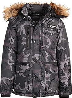 DKNY Boys` Heavyweight Ski Parka Polar Fleece Lined Jacket with Sherpa Lined Hood