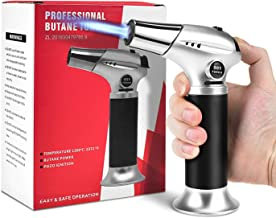 Alcoon Blow Torch Lighter Kitchen Cooking Culinary Torch Refillable Butane Torch with Safety Lock and Adjustable Flame Fit for BBQ Camping Creme Brulee Baking (Butane Gas NOT Included)