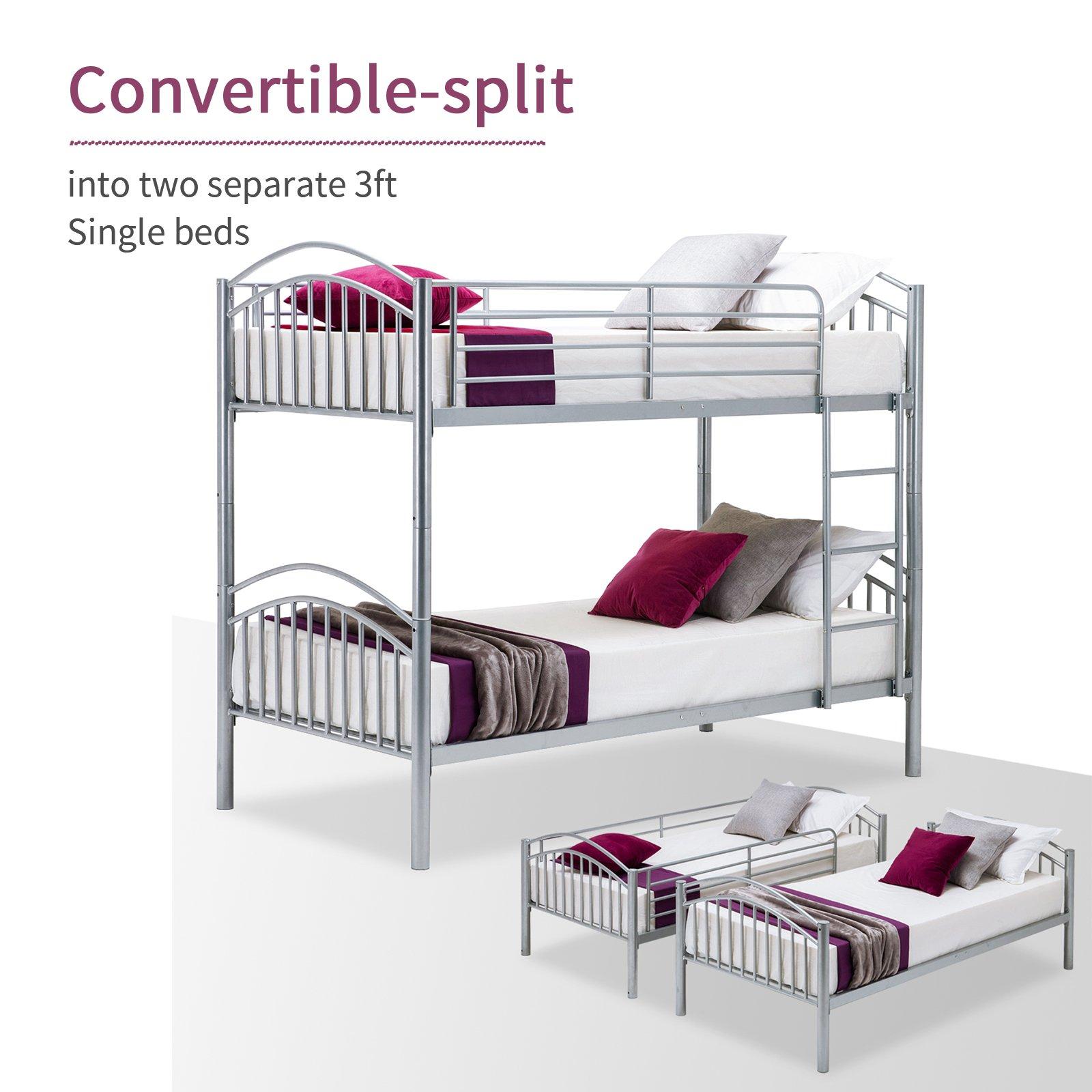 mecor Twin Over – Metal litera Marco de Camas Muebles de Dormitorio para niños/Adultos niños con Escalera: Amazon.es: Juguetes y juegos