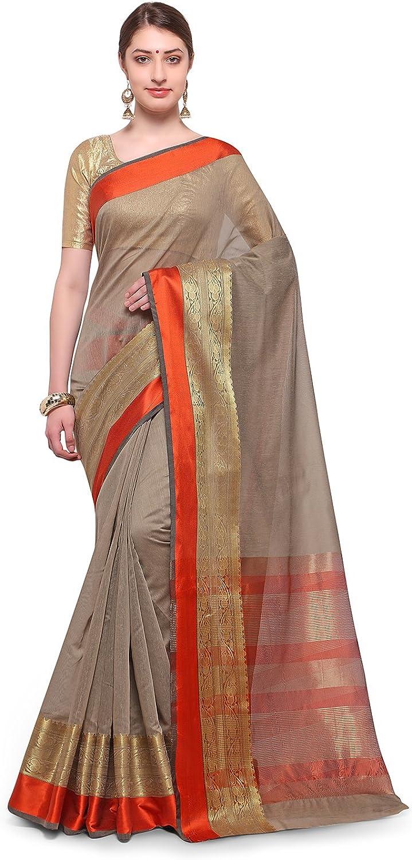Varkala Silk Sarees Women Blended Cotton saree (TD1190BS_Taupe_Freesize)
